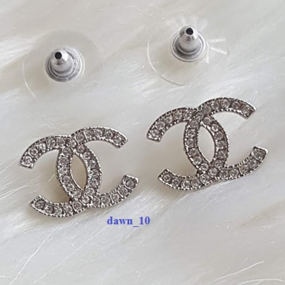 aa57e869a CHANEL Jewelry | Silver Swarovski Crystal Cc Earrings | Poshmark